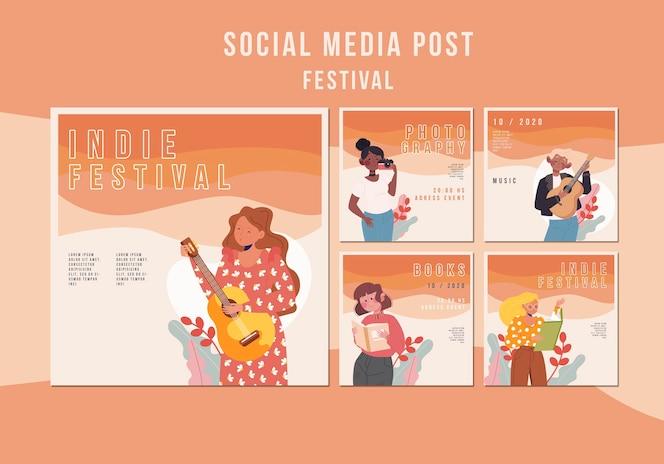 Plantilla de publicación de redes sociales del festival