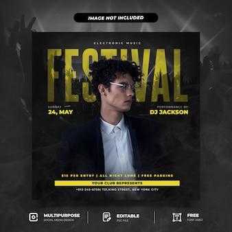 Plantilla de publicación de redes sociales de fiesta de festival de música