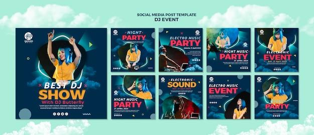 Plantilla de publicación de redes sociales de fiesta de música