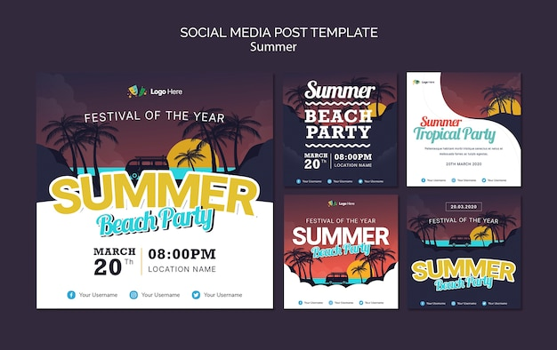 Plantilla de publicación de redes sociales de fiesta en la playa de verano