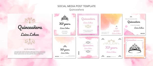 Plantilla de publicación de redes sociales para fiesta de quinceañera