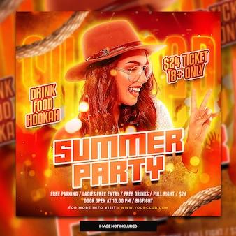 Plantilla de publicación de redes sociales de fiesta de verano