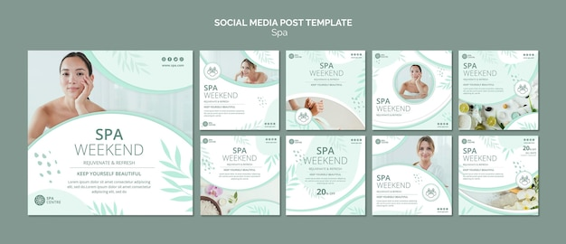 Plantilla de publicación de redes sociales de fin de semana de spa