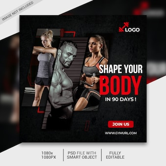Plantilla de publicación de redes sociales de fitness, publicación de instagram