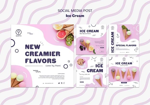 Plantilla de publicación de redes sociales de helados