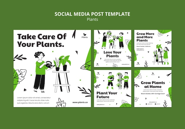 Plantilla de publicación de redes sociales de hobby de jardinería
