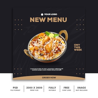 Plantilla de publicación en redes sociales instagram, food elegant luxury gold