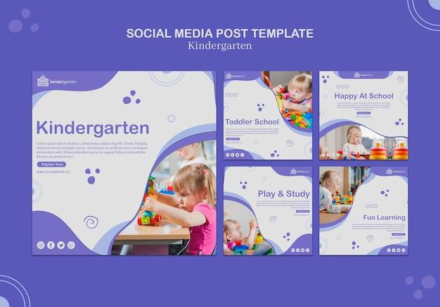 Plantilla de publicación de redes sociales para jardín de infantes