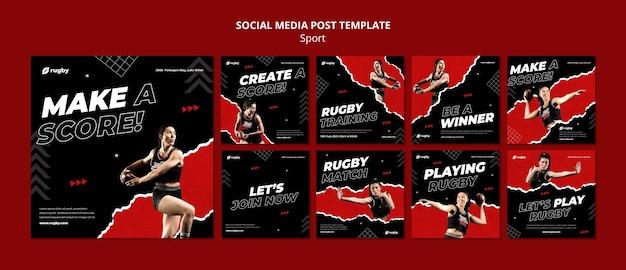 Plantilla de publicación de redes sociales jugando rugby