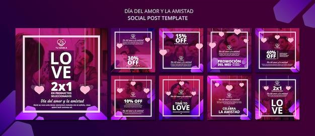 Plantilla de publicación de redes sociales de love valentine