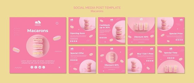 Plantilla de publicación en redes sociales con macarons
