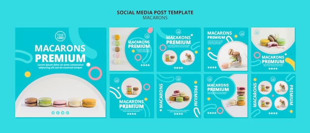 Plantilla de publicación de redes sociales de macarons