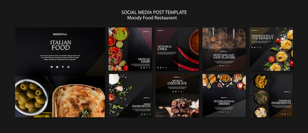 Plantilla de publicación de redes sociales de moody food restaurant