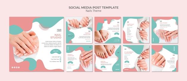 Plantilla de publicación en redes sociales de nail studio