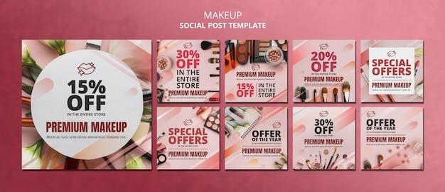 Plantilla de publicación de redes sociales de oferta de maquillaje