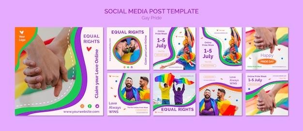 Plantilla de publicación en redes sociales del orgullo gay