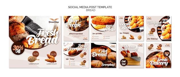 Plantilla de publicación de redes sociales de pan fresco