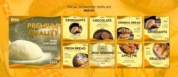 Plantilla de publicación de redes sociales con pan