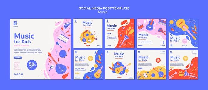 Plantilla de publicación de redes sociales de plataforma de música para niños