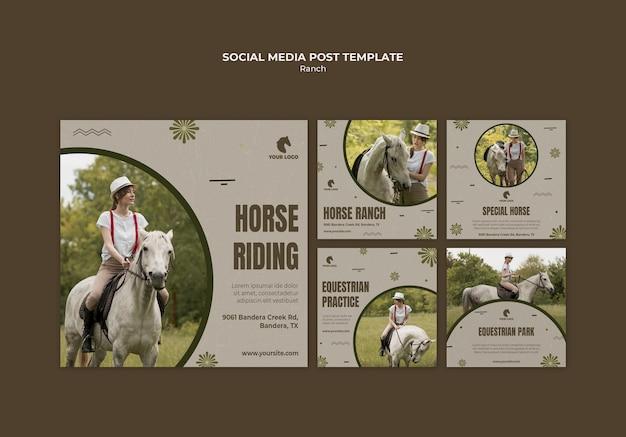 Plantilla de publicación de redes sociales de rancho de caballos