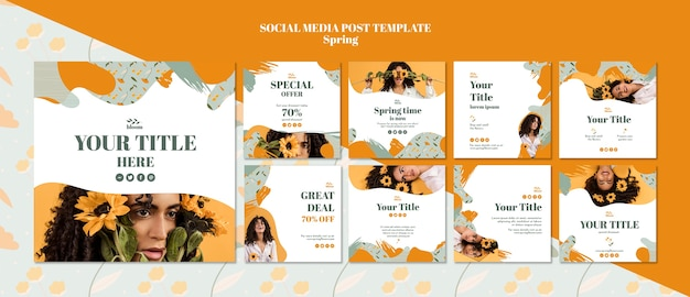 Plantilla de publicación en redes sociales con rebajas de primavera