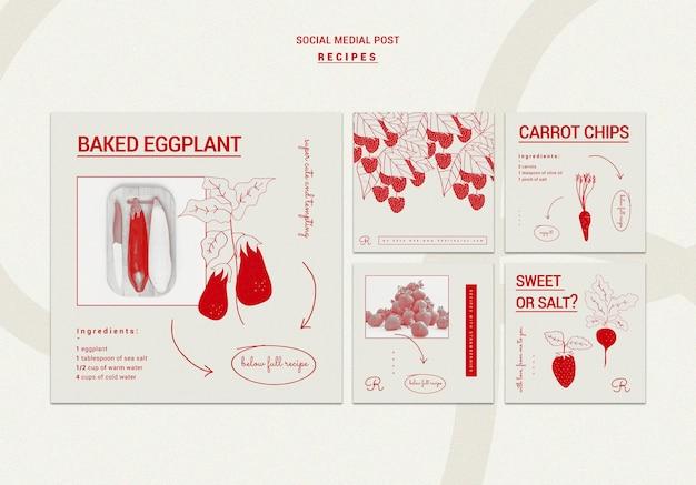 Plantilla de publicación de redes sociales de recetas dibujadas a mano