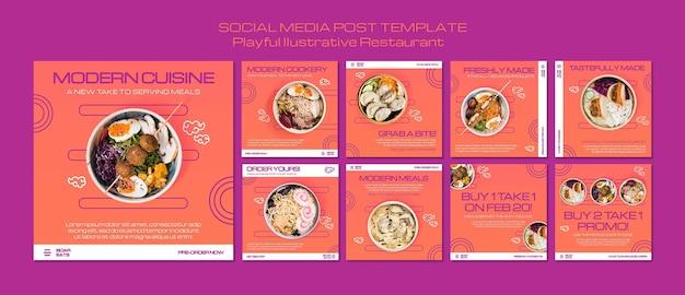Plantilla de publicación de redes sociales de restaurante de fideos