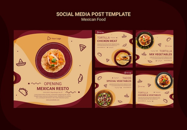 Plantilla de publicación de redes sociales de restaurante mexicano