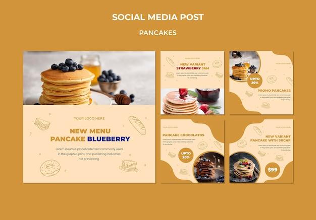 Plantilla de publicación de redes sociales de restaurante de panqueques