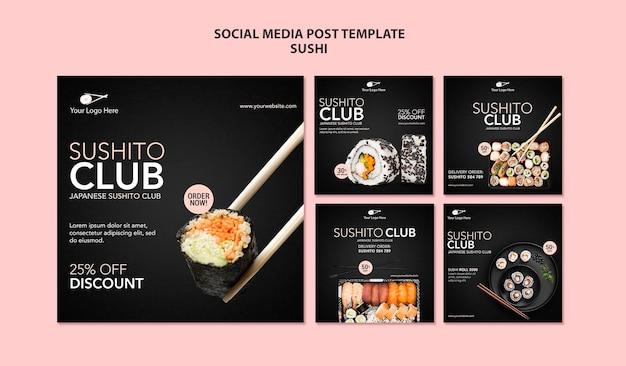 Plantilla de publicación de redes sociales de restaurante de sushi