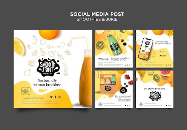 Plantilla de publicación de redes sociales de smoothie bar