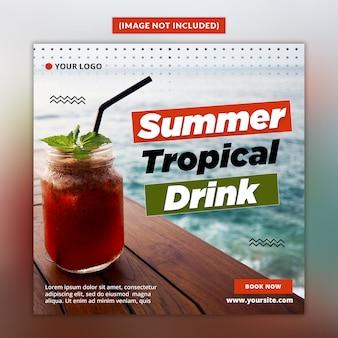 Plantilla de publicación de redes sociales summer drink