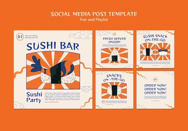Plantilla de publicación de redes sociales de sushi bar
