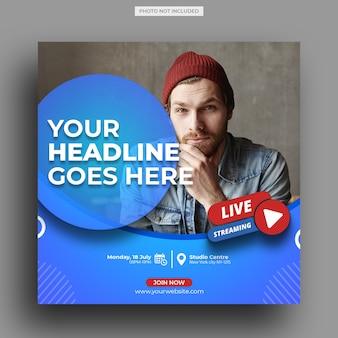 Plantilla de publicación en redes sociales del taller de transmisión en vivo