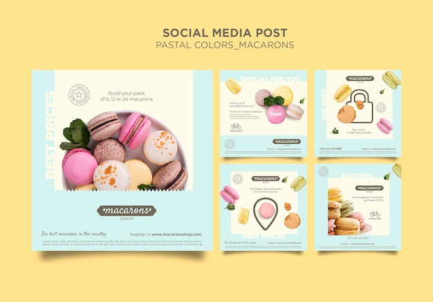 Plantilla de publicación de redes sociales de la tienda de macarons