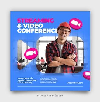 Plantilla de publicación en redes sociales de transmisión y videoconferencia