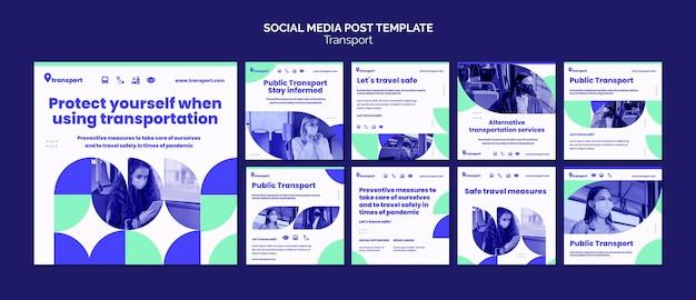 Plantilla de publicación de redes sociales de transporte seguro