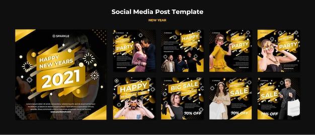 Plantilla de publicación de redes sociales de venta de año nuevo
