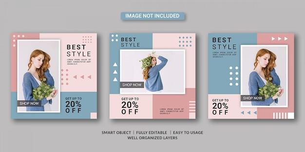 Plantilla de publicación de redes sociales de venta de moda
