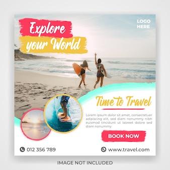 Plantilla de publicación en redes sociales de viaje de viaje
