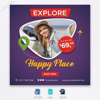 Plantilla de publicación de redes sociales de viajes turísticos