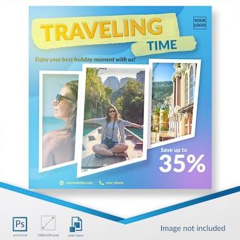 Plantilla de publicación en redes sociales para viajes de verano.