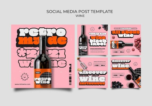 Plantilla de publicación de redes sociales de vino retro