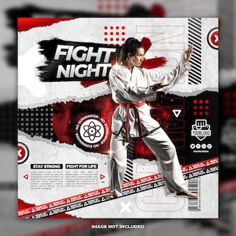 Plantilla de publicación de redes sociales de volante de chica joven de atleta de karate