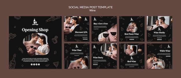 Plantilla de publicación de redes sociales de wine