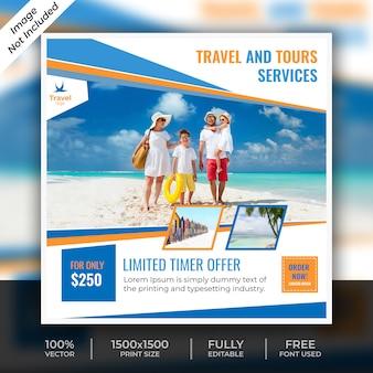 Plantilla de publicación social de viajes