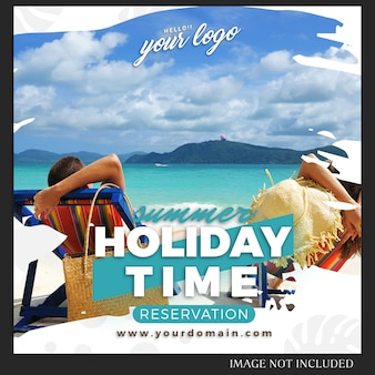 Plantilla de publicación de viajes de vacaciones de verano de instagram