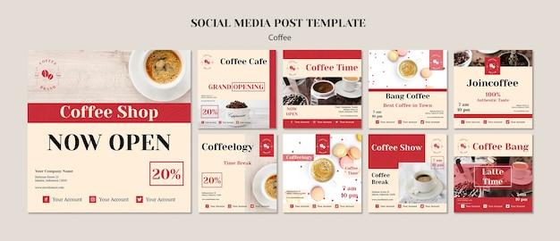 Plantilla de publicaciones creativas de redes sociales de cafetería