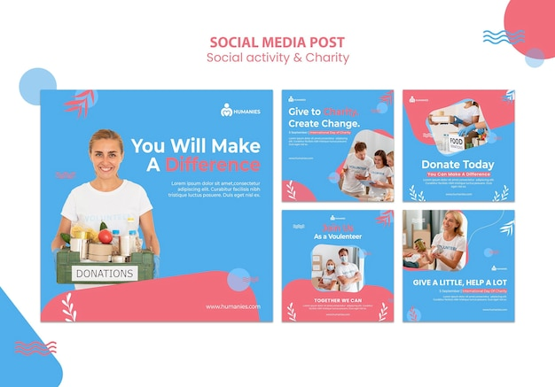 Plantilla de publicaciones de instagram de actividad social y caridad