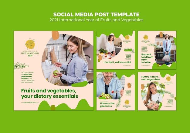 Plantilla de publicaciones de instagram de año de frutas y verduras